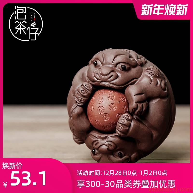 The mythical wild animal pet tea tea art small boutique violet arenaceous kunfu tea furnishing articles furnishing articles tea sets tea tea tea tray play fortunes
