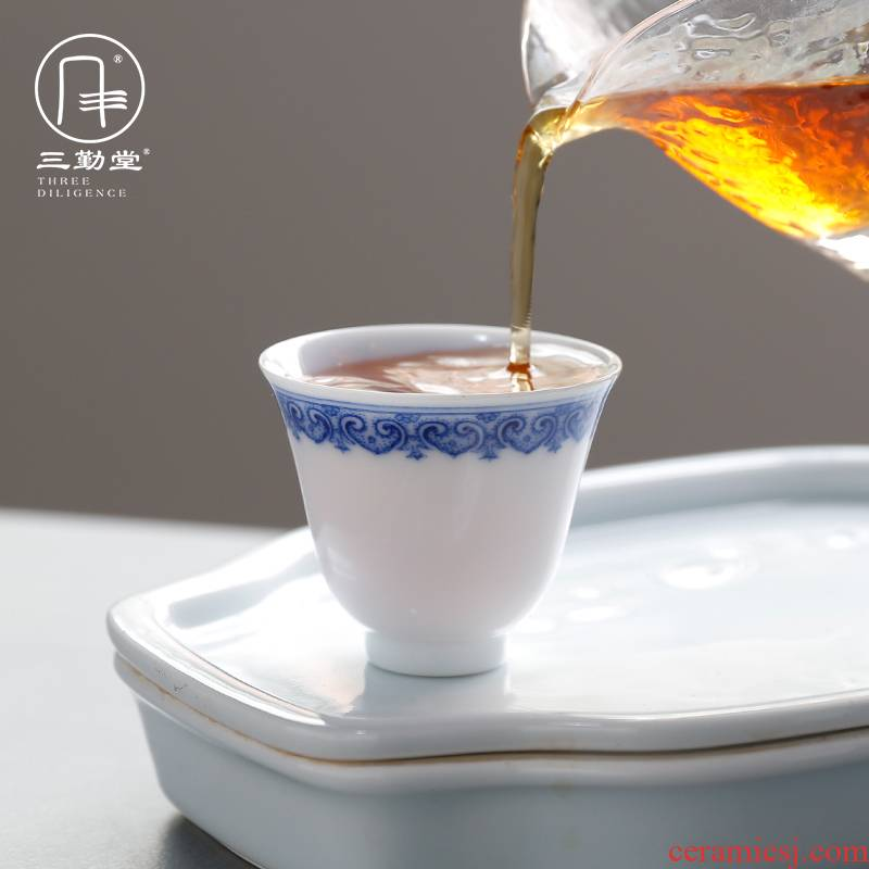 Three frequently hall jingdezhen porcelain cups ceramic sample tea cup masters cup single CPU S43009 kung fu tea lovers