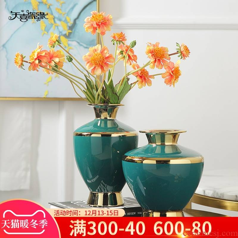 Jingdezhen modern new Chinese vase light key-2 luxury furnishing articles ceramic vase restoring ancient ways is the sitting room porch hotel soft decoration