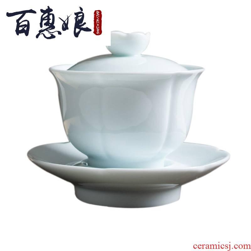 (niang pure white contracted manual falbala jingdezhen ceramic tea set a complete set of kung fu tea set