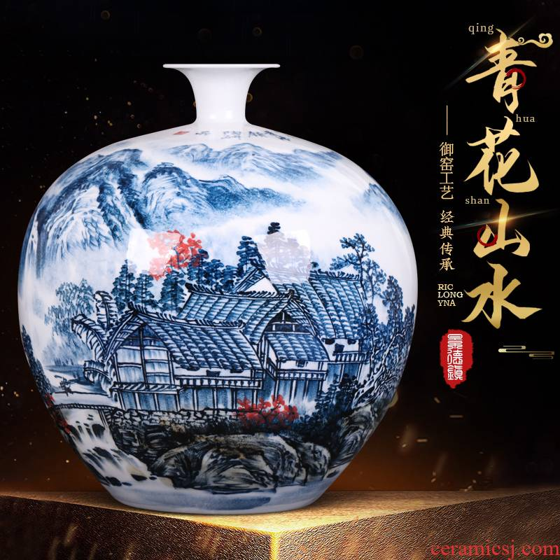 The new Chinese rich ancient frame sitting room adornment famous jingdezhen ceramics hand - made of blue and white porcelain vases, flower arranging furnishing articles