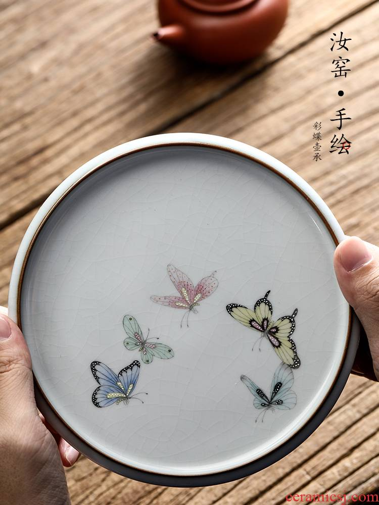 Your up hand - made pot of tea tray bearing dry Taiwan jingdezhen pure manual butterfly ceramic tea bearing pad Japanese start restoring ancient ways