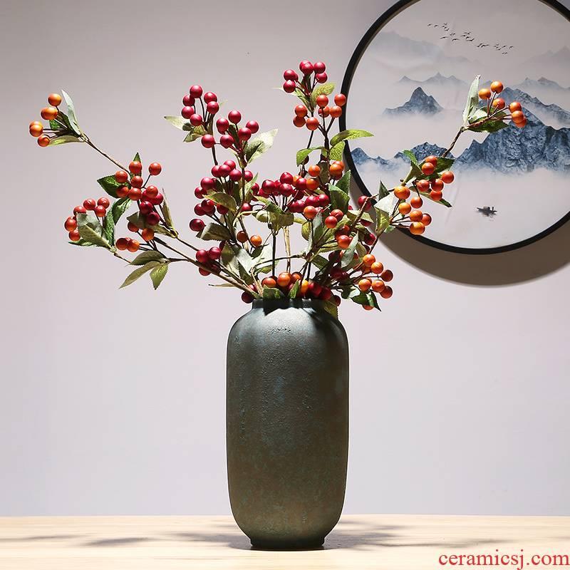 Jingdezhen crafts dried flower vase modern creative living room TV cabinet decoration of Chinese style porch ceramic vase