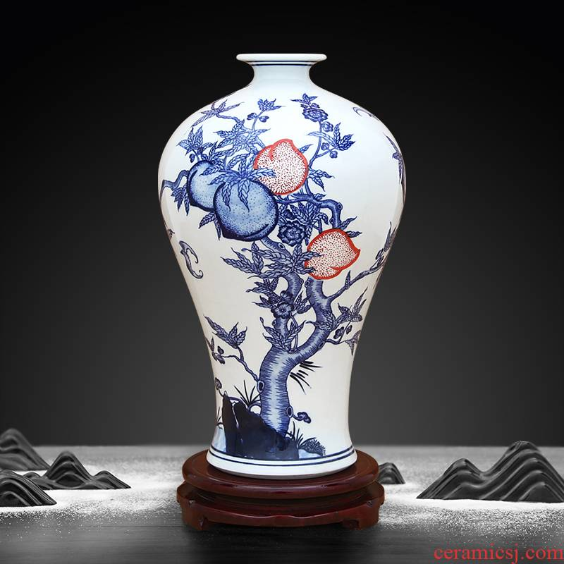 To ceramics antique blue - and - white hand - made youligong live long and proper vase furnishing articles
