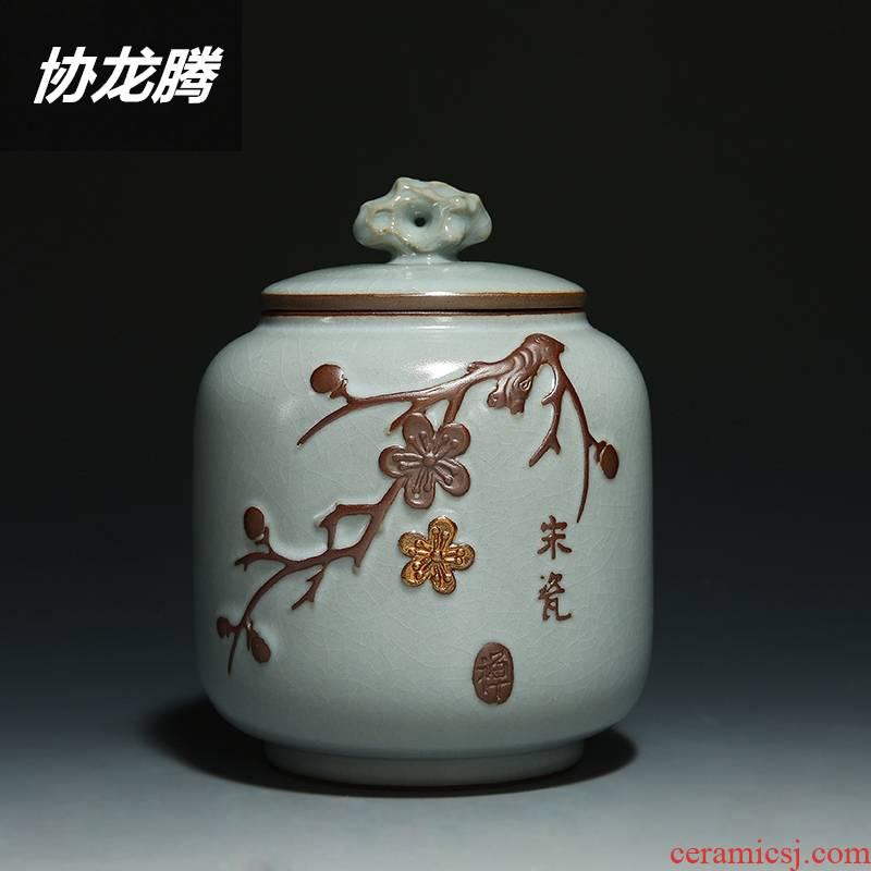 Qiao mu caddy fixings ceramic large storage sealing as cans caddy fixings your up open piece of pu 'er tea tea tea box