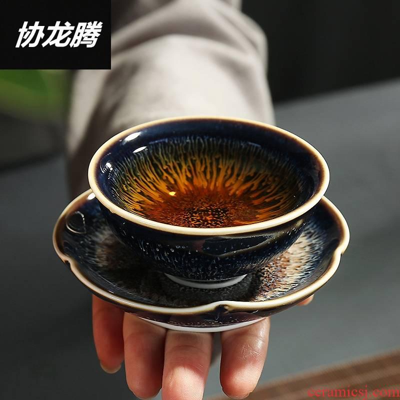 Qiao MuJian light temmoku glazed pottery porcelain kung fu tea saucer heat insulation cup mat saucer tea cup mat