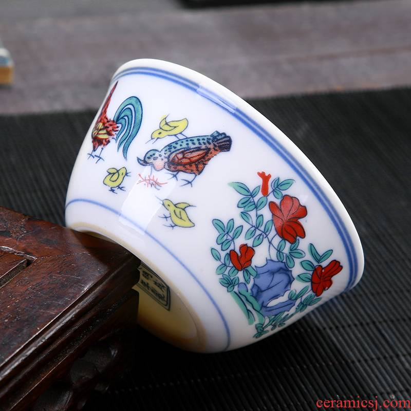 Jingdezhen chenghua chicken color bucket cylinder cup master cup kung fu tea cup sample tea cup, single CPU large - sized ceramic tea set