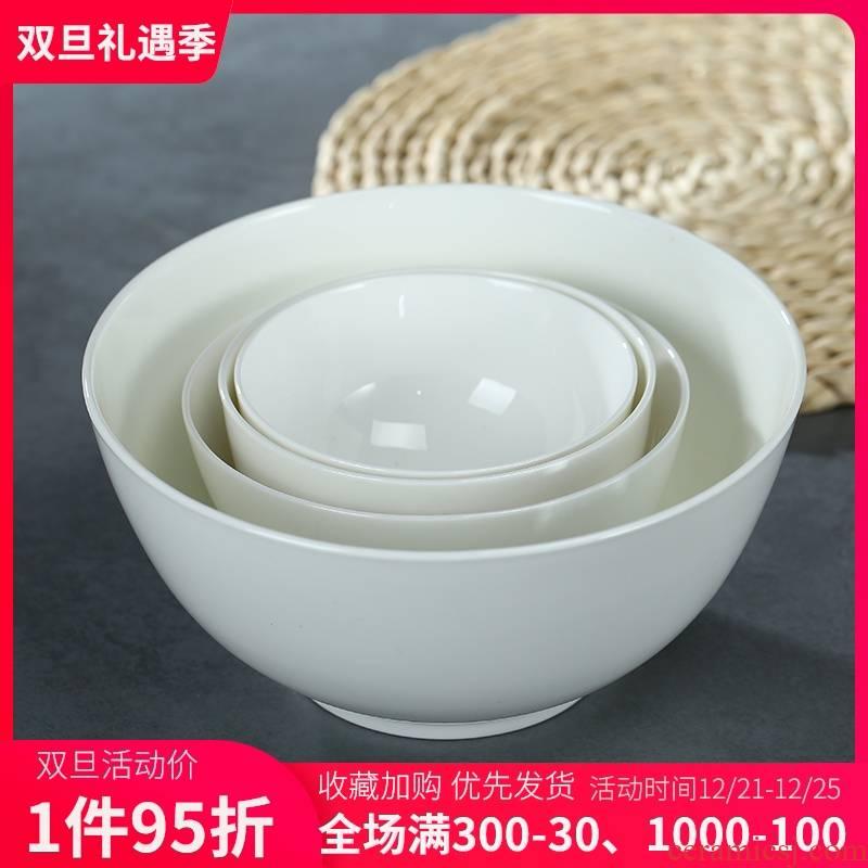 Jingdezhen ceramic rice bowl pure white eat bowl household ipads porcelain tableware to use large size bowl noodles bowl