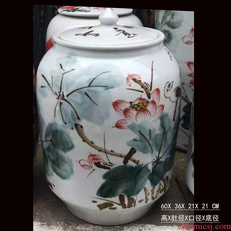 Jingdezhen elegant hand - made porcelain m barrel ceramic porcelain tanks fashion beautiful cover pot