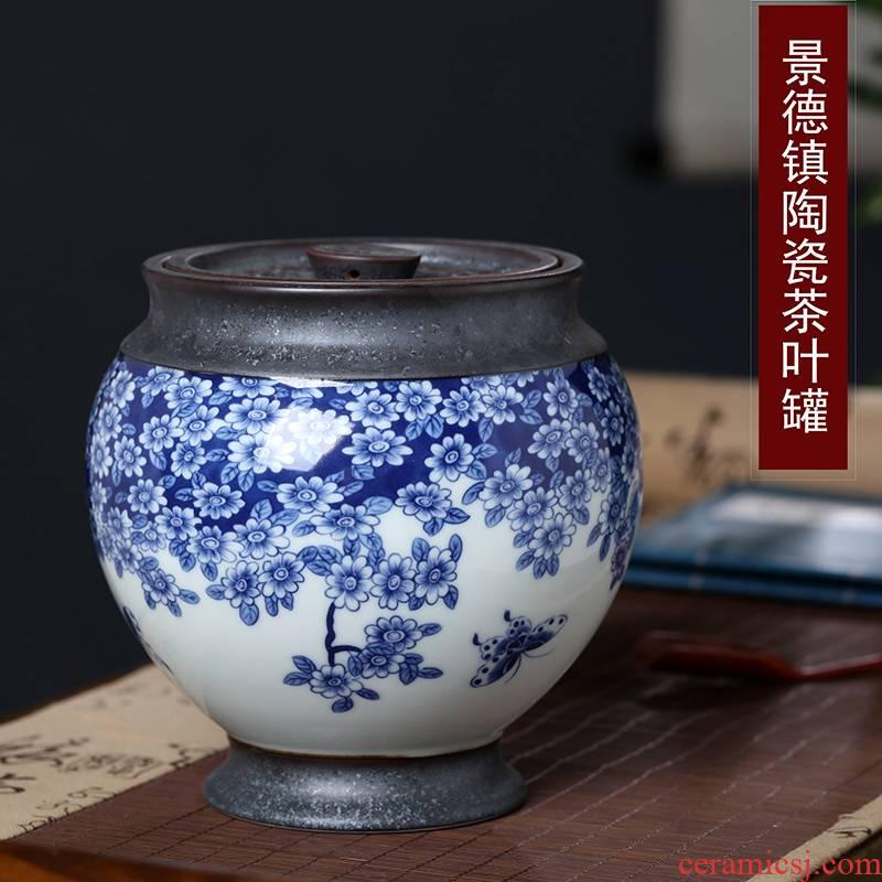 Jingdezhen ceramic tea pot 1 catty puer tea, green tea storage jar airtight jar of bulk tea POTS sealed storage device