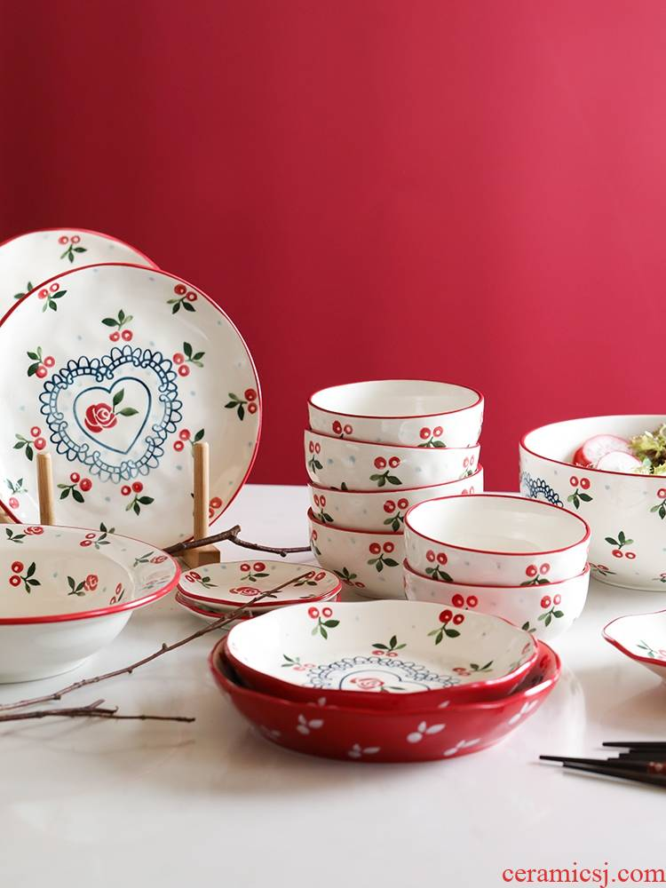 Qiao mu LH household retro creative hand - made dishes set tableware ceramic rice bowl plate combination fish dish plate