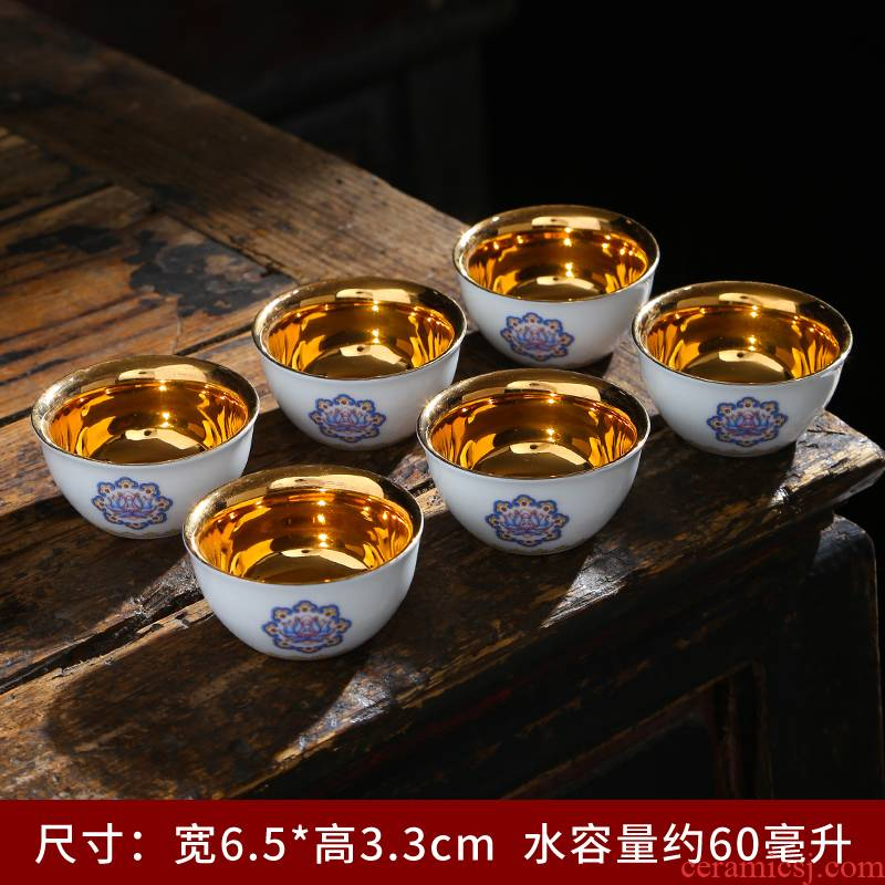 Single cup silver cup silver 999 silver cup master kung fu tea tea cups of jingdezhen ceramics, the silver cup