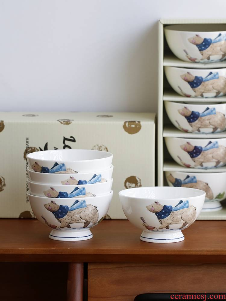 Qiao mu LH rice bowls combination tableware suit household eat lovely ipads bowls porringer creative children 's move