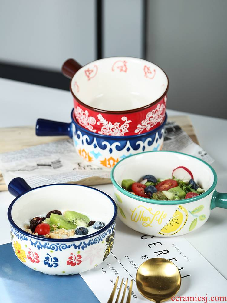 Creative large household ceramics rainbow such use salad bowl rice bowls Japanese - style tableware suit western - style dishes suit move