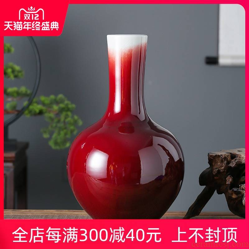 Jingdezhen ceramics glaze color ruby red tree vase decoration furnishing articles home sitting room hotel opening gifts