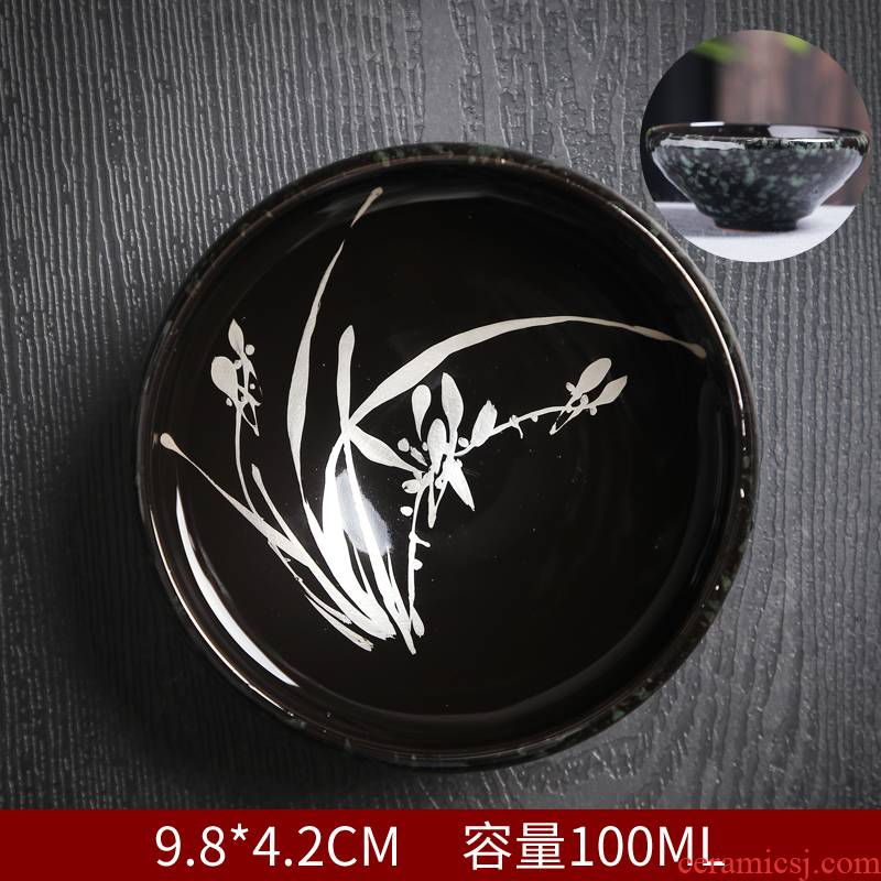 Hand - made built light silver kung fu tea cups ceramic masters cup tea oil droplets, a single sample tea cup bowl accessories