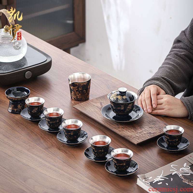 Tasted silver gilding kung fu tea sets tea tureen jingdezhen ceramic tea set with silver cups office tea gifts