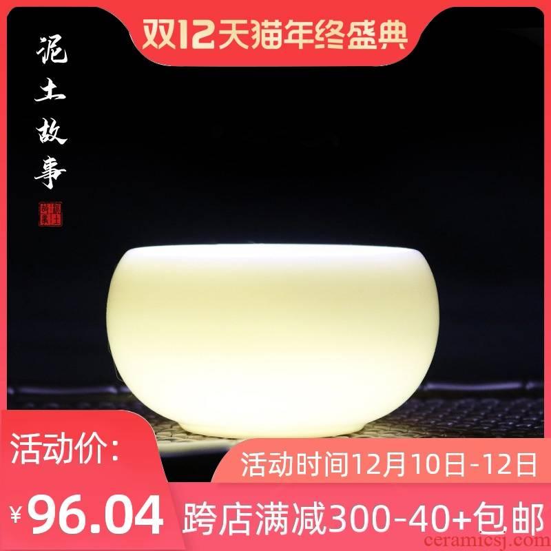 Dehua porcelain household jade tea cup size master cup single CPU kung fu tea pu - erh tea sample tea cup white porcelain cups