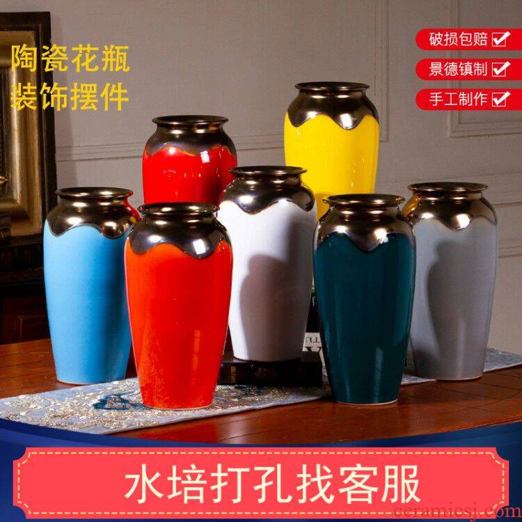 Extra large new flower pot new Chinese jingdezhen ceramic vase sitting room place a hydroponic lucky bamboo big flowers