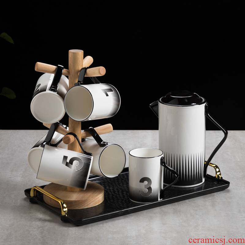 Northern European cup home kit manual tracing ceramic cool tea set suit sitting room temperature kettle