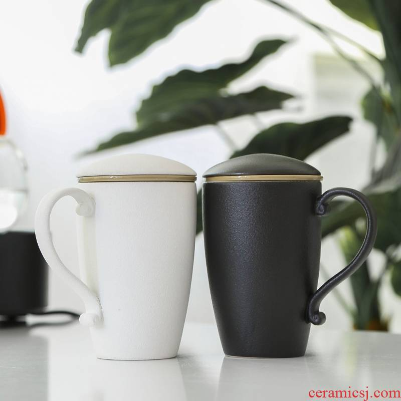 Qiao mu creative coarse pottery ceramic tea cup with the filtering cup individual large mugs office mail
