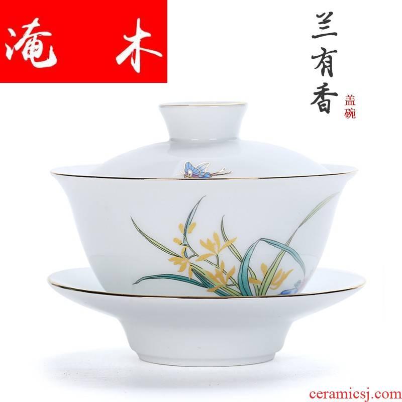Flooded demand from the sweet ceramic tureen kung fu tea set white porcelain three to make tea bowl to bowl large bowl bowl