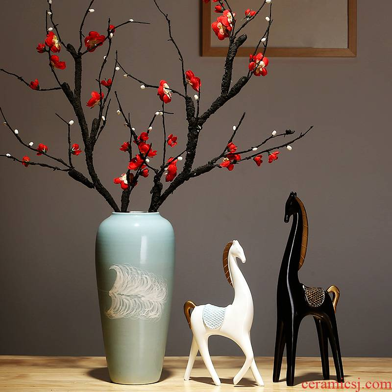 Jingdezhen ceramics by hand vase creative new Chinese style living room porch place to live in the dried flower crafts