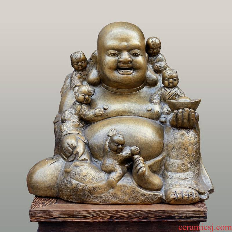 Jingdezhen ceramic engraving smiling Buddha maitreya shop hotel mesa desktop large furnishing articles and heavily Buddha