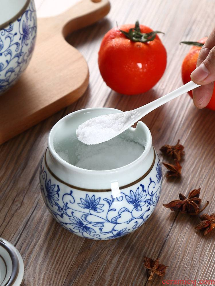 Japanese household kitchen condiment box ceramics condiment chili oil tank ZiZhu tank large seasoning salt GuanPing