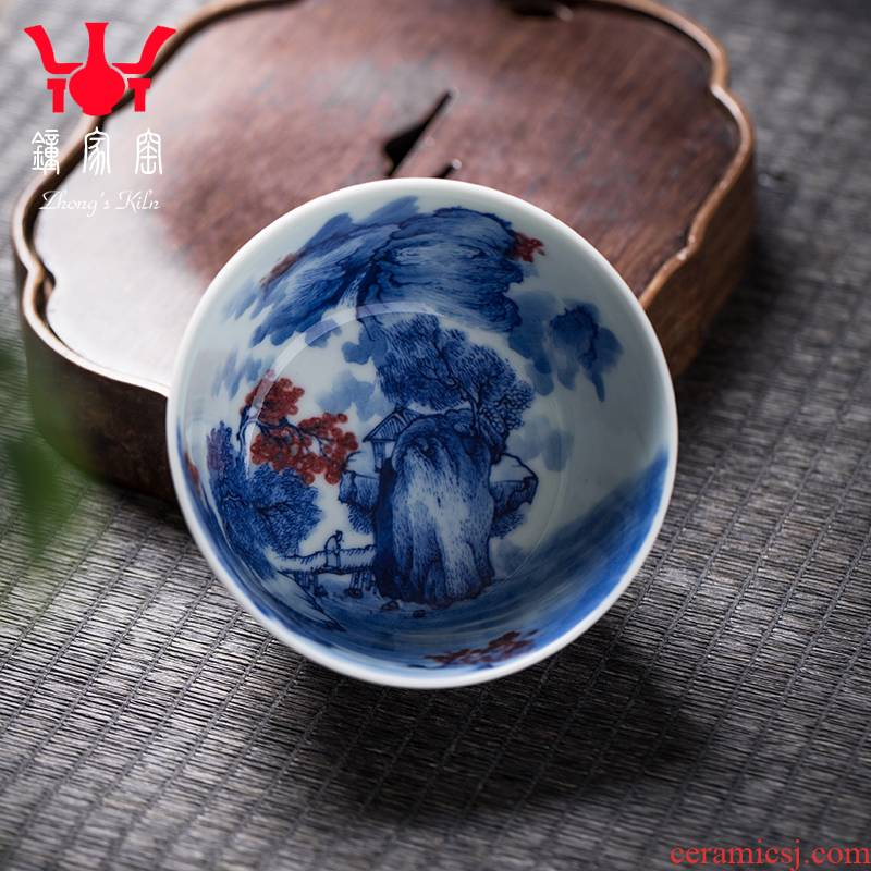Clock kung fu tea house up with jingdezhen blue and white maintain high - end checking master cup single CPU youligong hongshan cup