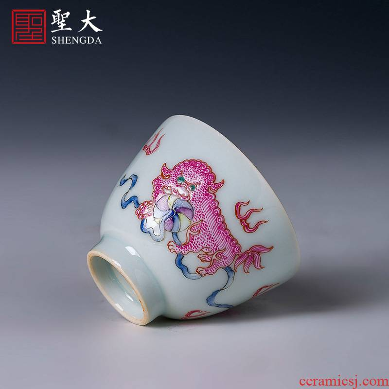 Holy big ceramic kunfu tea sample tea cup hand - made color agate red lion ball masters cup of jingdezhen tea service by hand