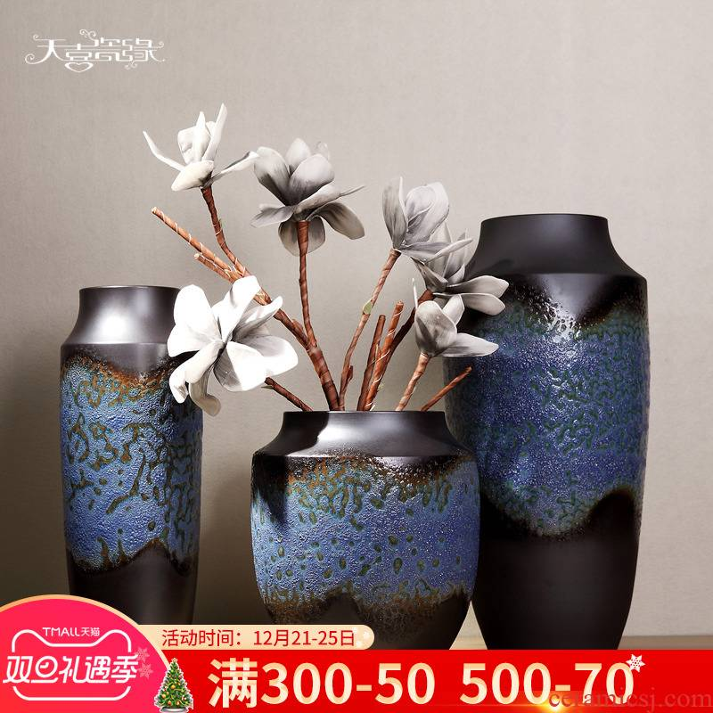 Jingdezhen ceramic vase planting of new Chinese style three - piece suit I sitting room ground adornment TV ark, furnishing articles