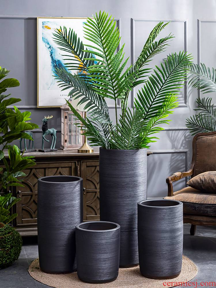 I and contracted large flower pot villa interior furnishing articles creative ceramic basin of large ground plant black vase