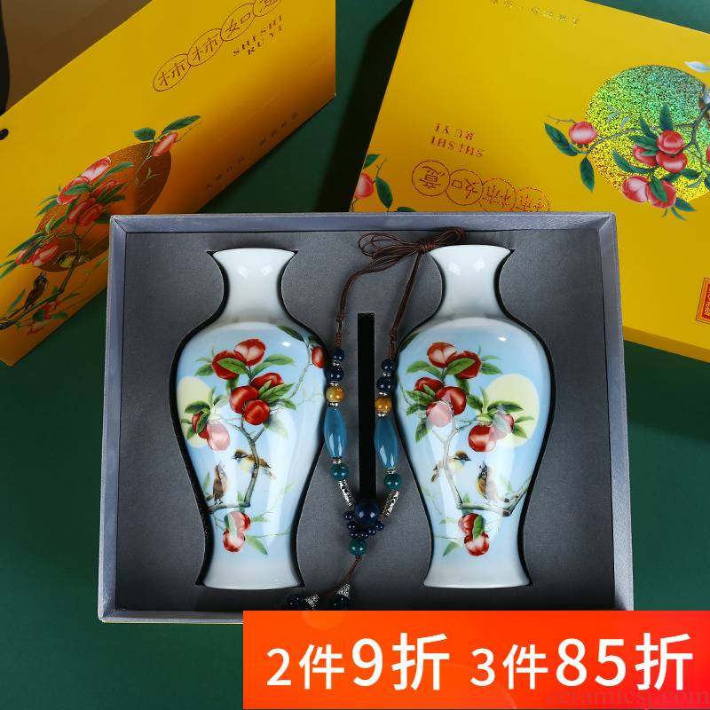 Jingdezhen ceramics creative gift boxes, small vase household flower arranging rich ancient frame sitting room adornment is placed