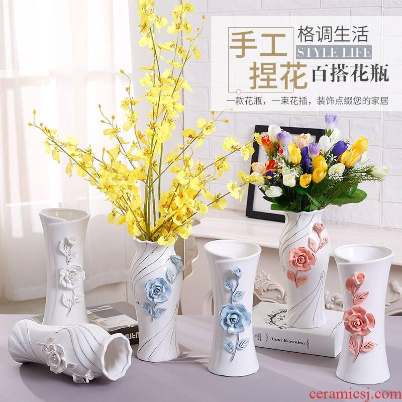 Ceramic white large yards embellish household vase flower arranging lucky bamboo flower vase living room TV ark, water table