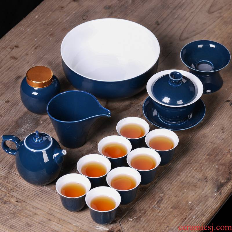 Kung fu tea set suit household ceramics jingdezhen I and contracted creative cup teapot office sitting room of Chinese style