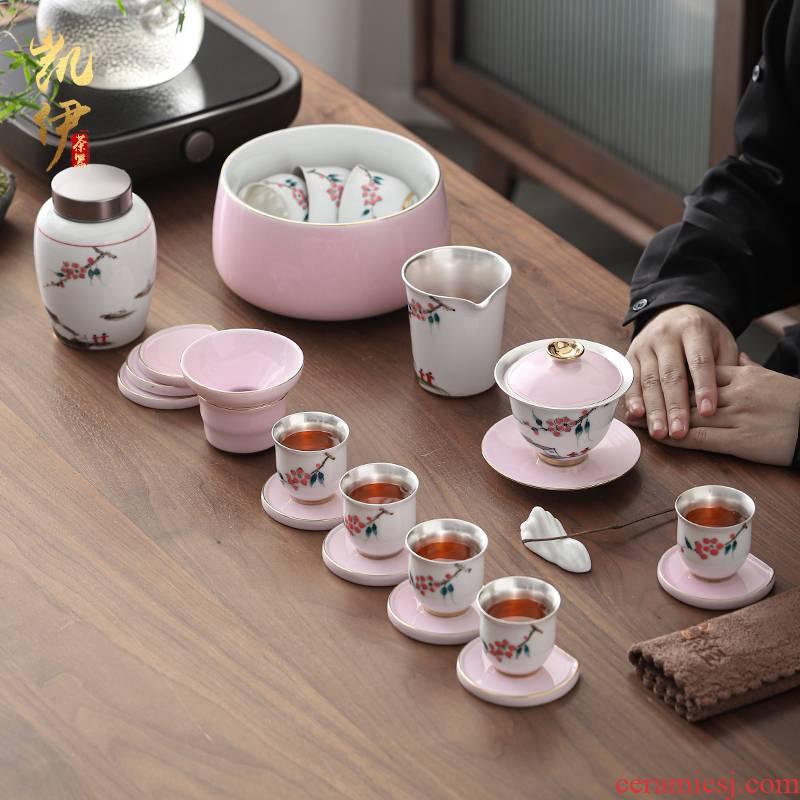 Hand - made xanadu tasted silver gilding kung fu tea sets jingdezhen ceramic tea set silver home office tea tureen