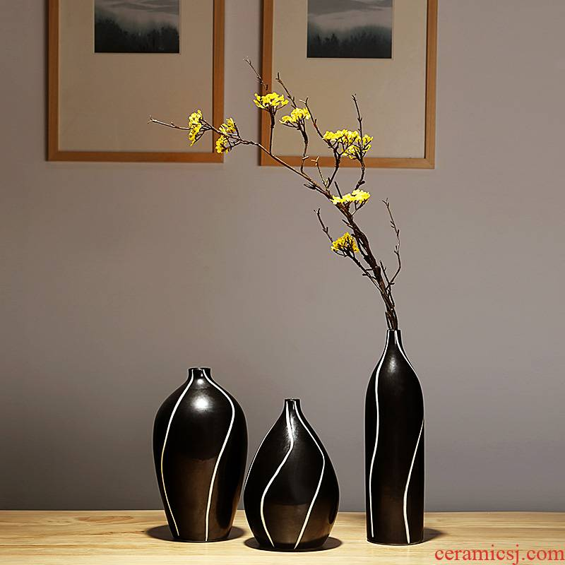 Modern Chinese style three - piece furnishing articles of jingdezhen ceramics, vases, flower arrangement or the size of the sitting room porch decoration