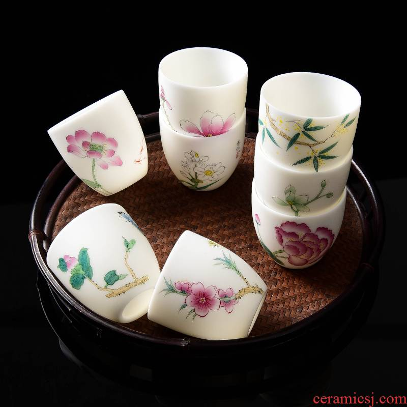 Dehua white porcelain hand - made twelve flora of suet jade tea master cup single CPU kung fu sample tea cup single men and women