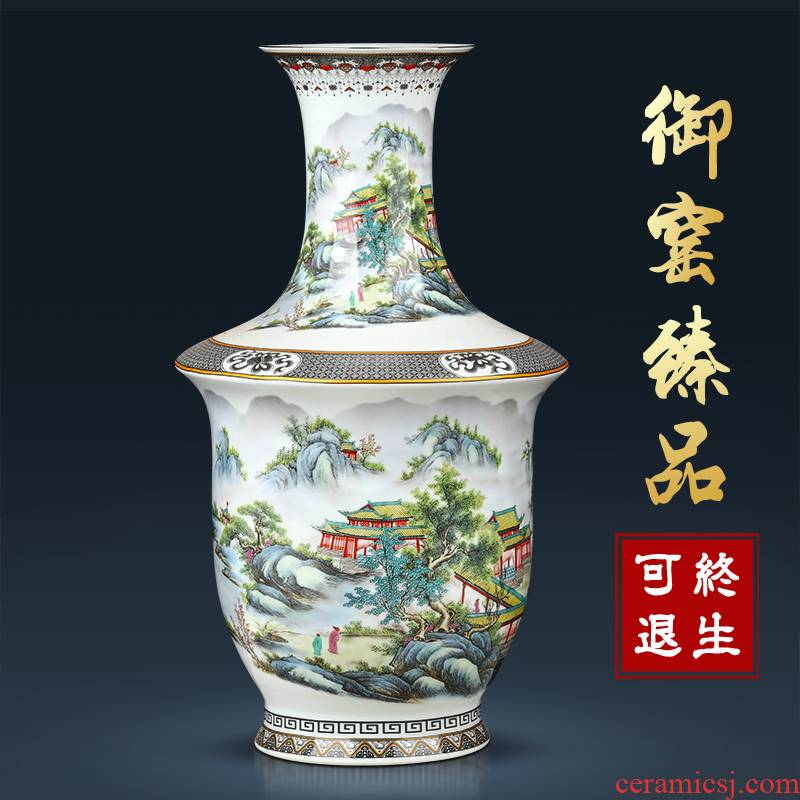 Jingdezhen ceramics vase furnishing articles archaize pastel Chinese style household porcelain of flower arrangement sitting room TV cabinet decoration