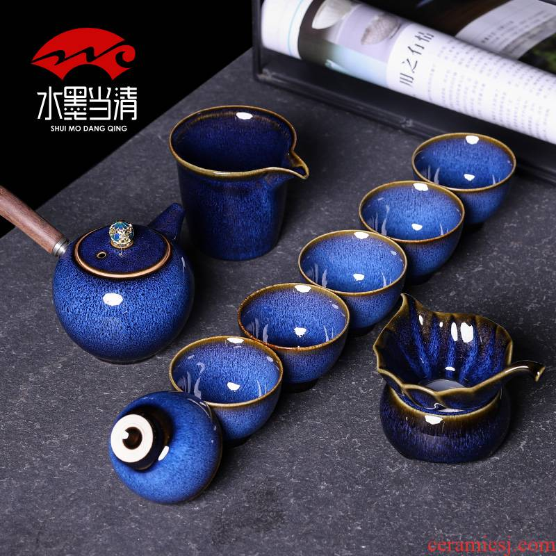Tea set masterpieces kung fu Tea cup six lateral ceramic teapot high - grade household gift box office