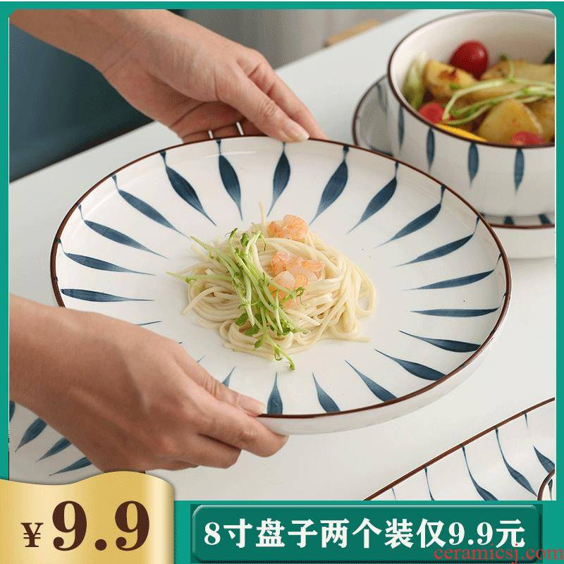 Plate Plate of household creative Japanese steak dinner Plate one food web celebrity composite ceramic dishes set tableware