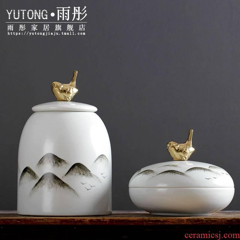 Jingdezhen ceramic hand - made ink creative furnishing articles process between example desktop ceramics decoration home decoration