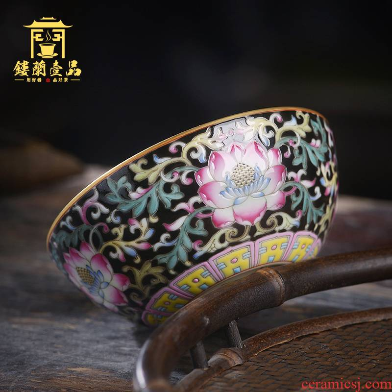 Jingdezhen ceramic hand - made all black enamel bound branch lotus masters cup kung fu tea set large personal single cups of tea cups