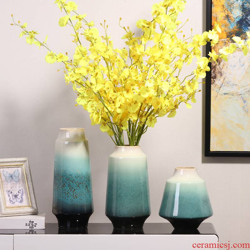 Jingdezhen ceramics dried flower vase furnishing articles sitting room TV cabinet table flower arranging I and contracted household ornaments