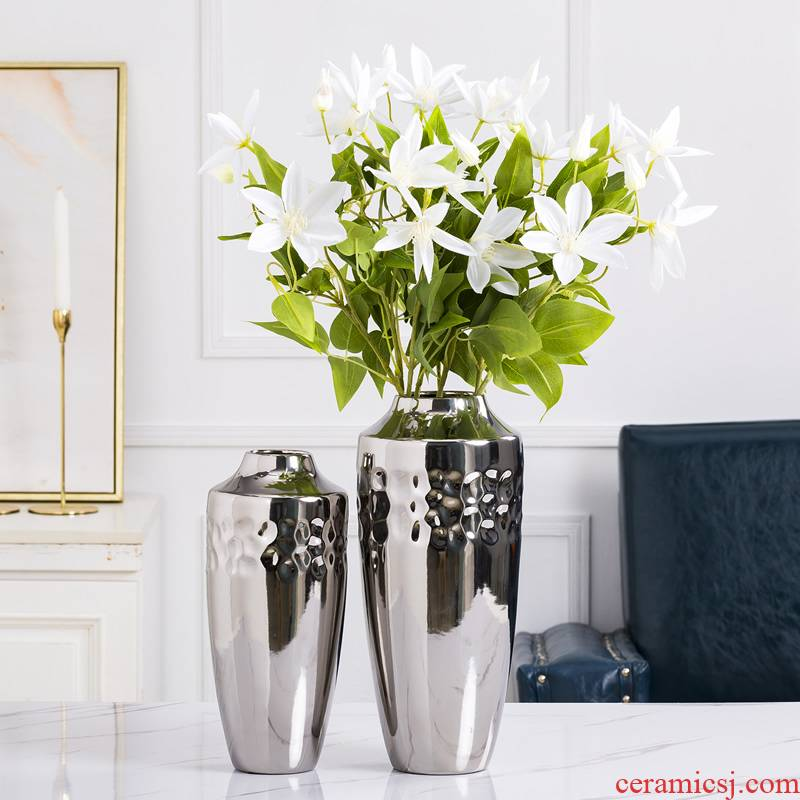 Jingdezhen ceramic vase furnishing articles Nordic dried flowers, silver creative contracted sitting room light key-2 luxury furnishing articles table wind flower arrangement