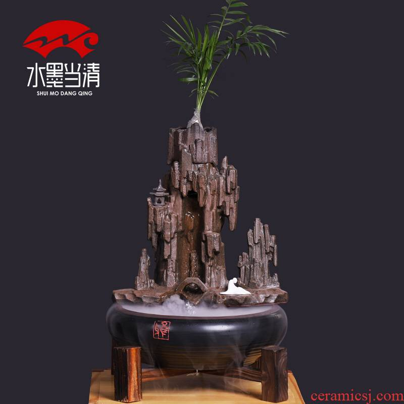 Rockery zen water apparatus furnishing articles ceramic pumping small home sitting room adornment desktop accessories creative cycle
