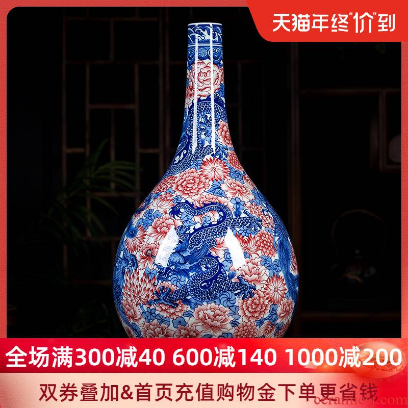 Jingdezhen ceramics hand - made archaize youligong longfeng gall bladder of blue and white porcelain vase small expressions using the home decoration furnishing articles