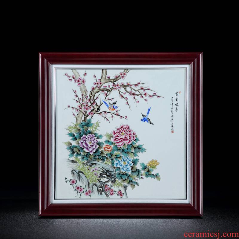 Jingdezhen porcelain plate painting hangs a picture antique hand - made Chinese porcelain rich changchun porcelain plate painting collection furnishing articles in the living room