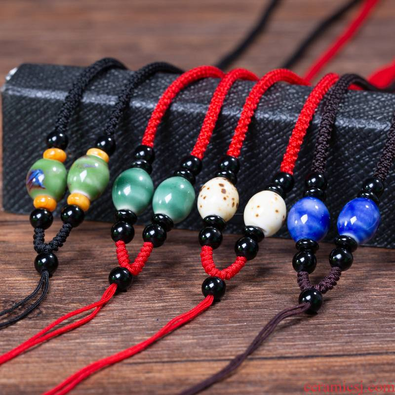 Ceramic beads pendant hang rope retro diy craft woven men 's and women' s model of jade pendant necklace rope rope neck hung on the rope